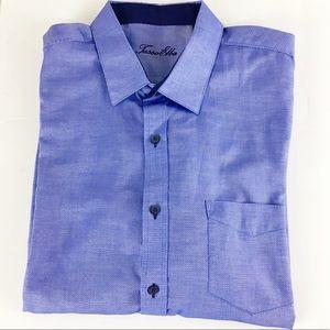 Tasso Elba Men's Diamond Pattern Blue Dress Shirt